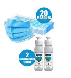 PACK DE 20 MASQUES CHIRURGICAUX + 2 GEL HYDROALCOOLIQUE 100 ML
