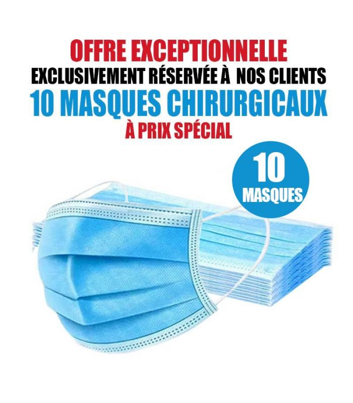 10 MASQUES CHIRURGICAUX TAILLE ENFANT PAS CHER