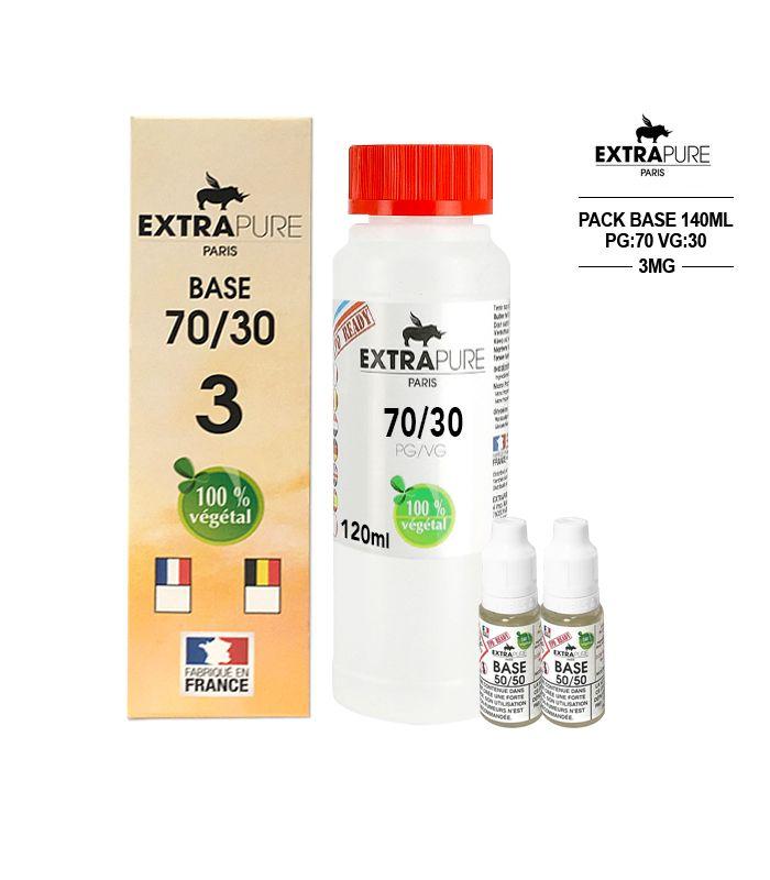 Kit EXTRAPURE Base neutre + Boosters de Nicotine pas cher pour E-liquide D.I.Y - Pack 140 ml, 70/30, 3 mg