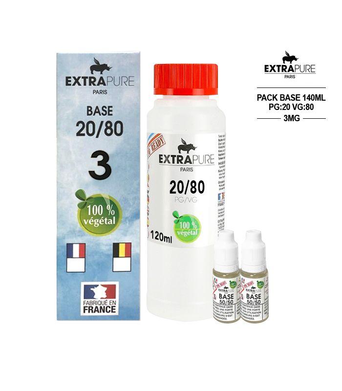 Kit EXTRAPURE Base neutre + Boosters de Nicotine pas cher pour E-liquide D.I.Y - Pack 140 ml, 20/80, 3 mg