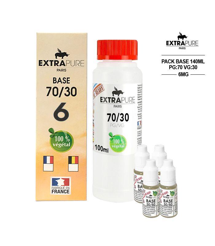 Kit EXTRAPURE Base neutre 70/30 + Boosters de Nicotine 6 mg pas cher pour E-liquide D.I.Y - Pack 140 ml