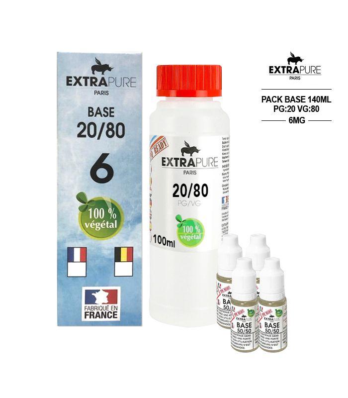 Kit EXTRAPURE Base neutre 20/80 + Boosters de Nicotine 6 mg pas cher pour E-liquide D.I.Y - Pack 140 ml