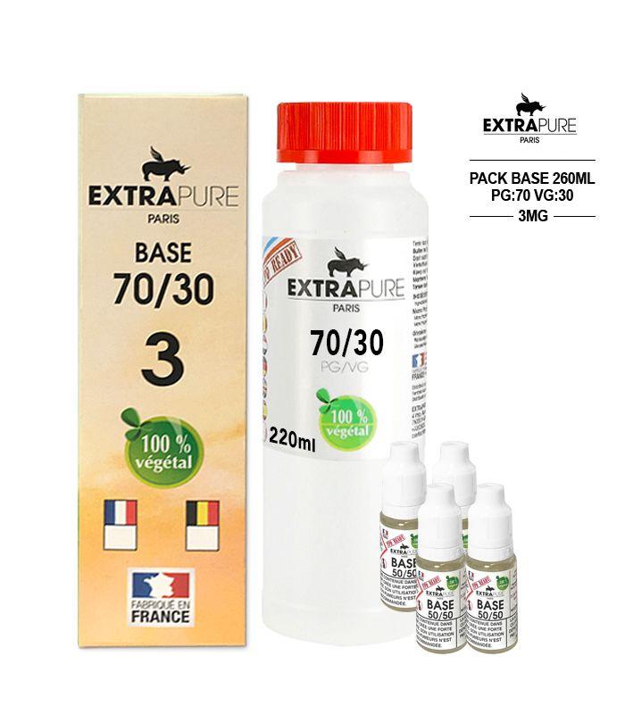 Kit EXTRAPURE Base neutre 70/30 + Boosters de Nicotine 3 mg pas cher pour E-liquide D.I.Y - Pack 260 ml