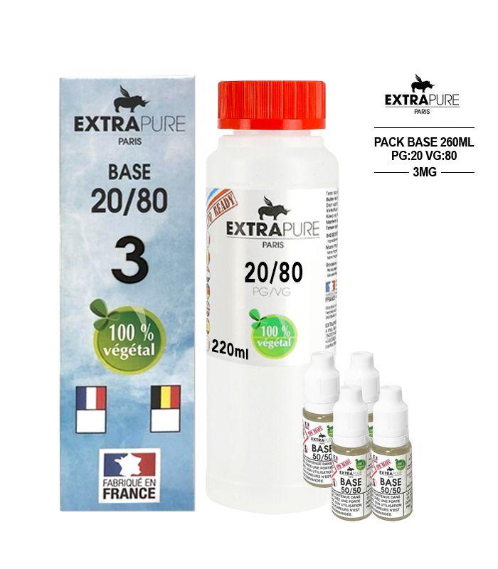 Kit EXTRAPURE Base neutre 20/80 + Boosters de Nicotine 3 mg pas cher pour E-liquide D.I.Y - Pack 260 ml
